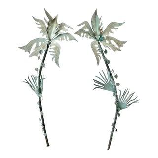 Vintage Verdigris Sculptural Copper Palm Leaves Wall Hangings-A Pair For Sale