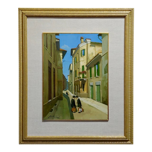 Lucio Sollazzi - School Boys at Play - Signed Italian Oil Painting C.1960s For Sale