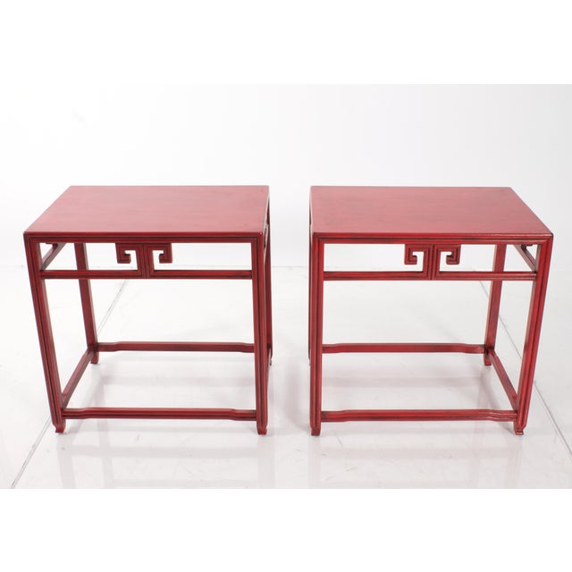 Red Pair of Michael Taylor for Baker Far East Red Side Tables For Sale - Image 8 of 9