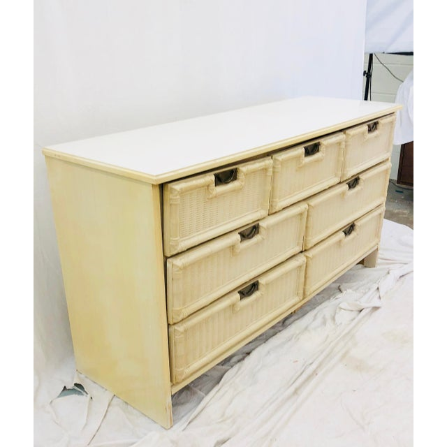 Yellow Vintage Hollywood Regency Style Dresser For Sale - Image 8 of 10