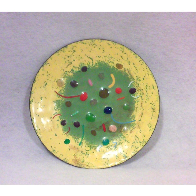 Mid-Century Colorful Enameled Brass Dish - Image 2 of 4