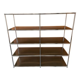 Mid-Century Modern Fritz Haller for Herman Miller Chrome + Enameled Steel Shelving Unit For Sale