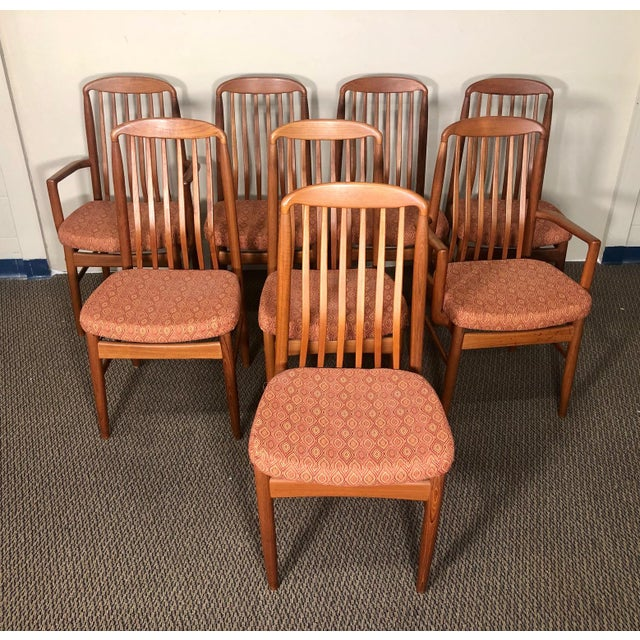 Set of 8 Mid Century Modern Danish Teak Dining Chairs by Benny Linden Slat Back For Sale - Image 13 of 13