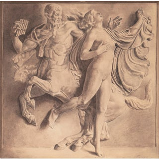 French School, 'Nymph With a Centaur', Greek Mythological Grisaille, Circa 1900 For Sale