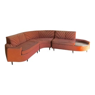 Mid-Century Modern Three Piece Pink Sectional Sofa