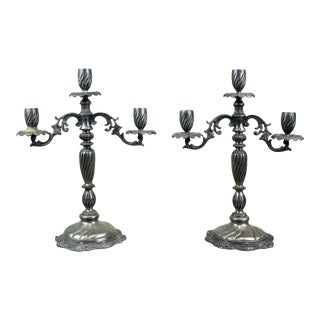 Vintage French Pewter 3-Arm Candelabras - A Pair