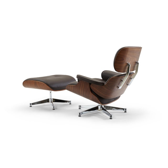 Contemporary Pasargad's Florence Brown Leather Lounge Chair & Ottoman For Sale - Image 3 of 9
