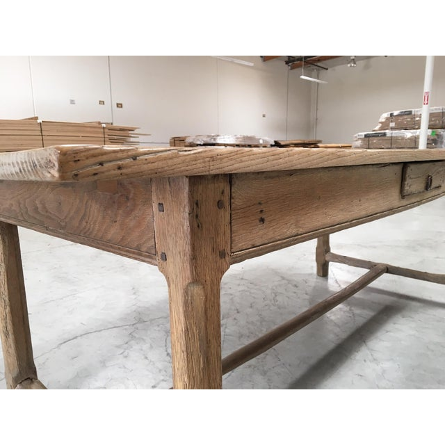 Antique Pale Blonde Beech Farm Table For Sale - Image 5 of 9