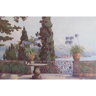 1905 Original Italian Print - Italian Travel Colour Plate - Pallanza From Isola Bella, Lago Maggiore For Sale