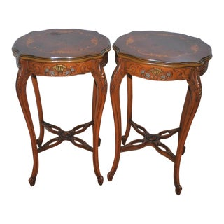 1940s French Provincial Gold Leaf Inlayed Cherry Side Tables - a Pair