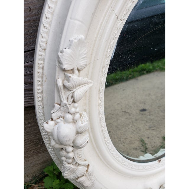 Wood Antique Shabby Chic Style Carved Wood Mirror For Sale - Image 7 of 12