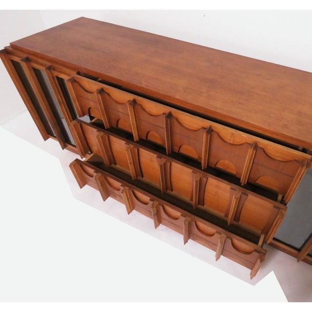 Wood Brutalist Mid Century 9 Drawer Credenza / Dresser by Tabago For Sale - Image 7 of 10
