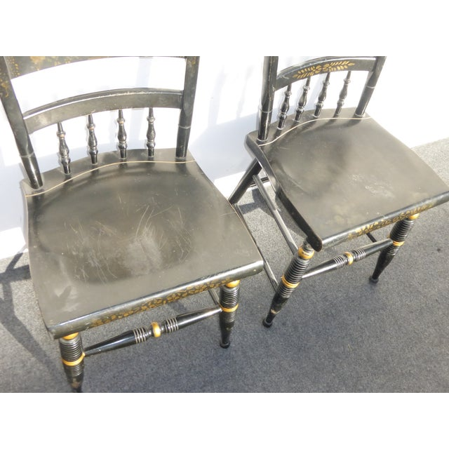 Black Vintage Spindle Back Windsor Chairs - A Pair - Image 6 of 11