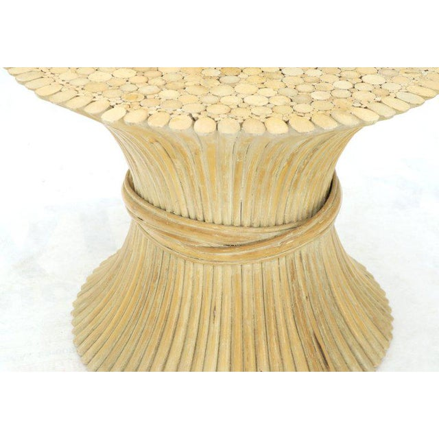 McGuire Pair of Sheaf of Bamboo Wheat Side End Occasional Tables Pedestals by McGuire For Sale - Image 4 of 10