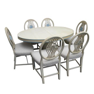 French Painted Dining Table With 6 Chairs and 2 Leaves For Sale