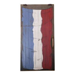 Antique French Barn Door With Flag Painting For Sale