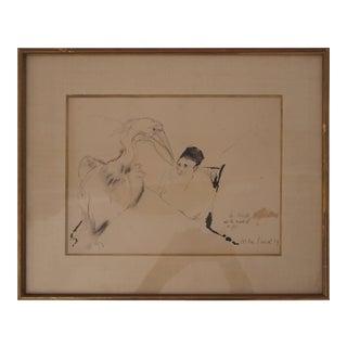 1939 French Max Jacob La Muse Autoritaire De La Maladie De Foie Drawing