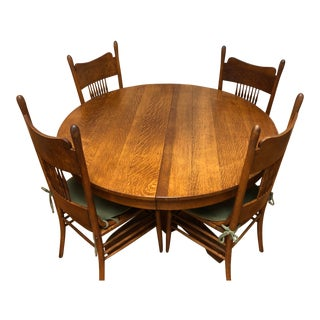 Oak Round Kitchen Table and Four Oak Press Back Kitchen Chairs