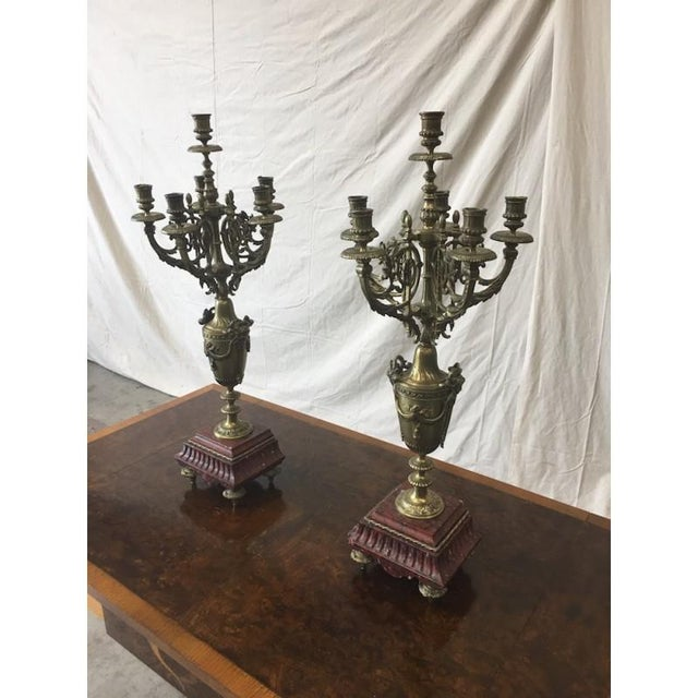 Stone 19th C. French Antique Gilt & Marble Candelabras - a Pair For Sale - Image 7 of 8