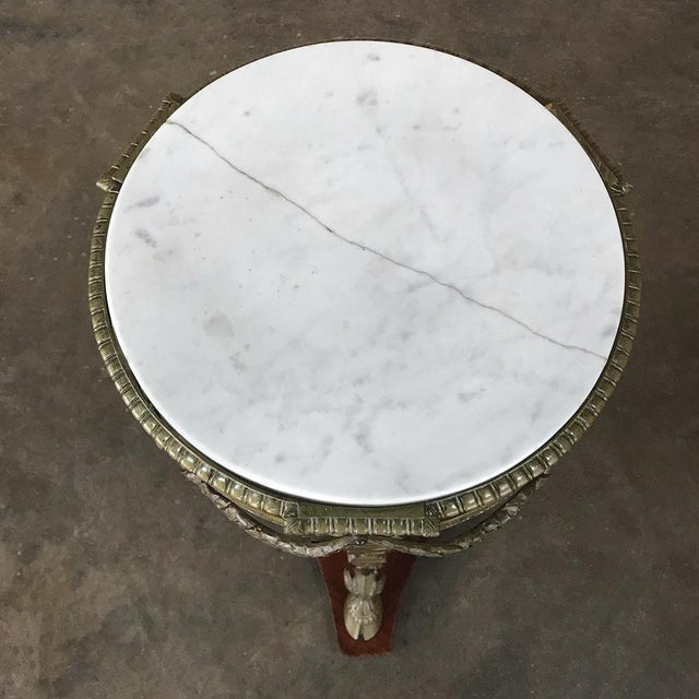 Metal 19th Century French Louis XVI Marble Top Brass Pedestal For Sale - Image 7 of 12