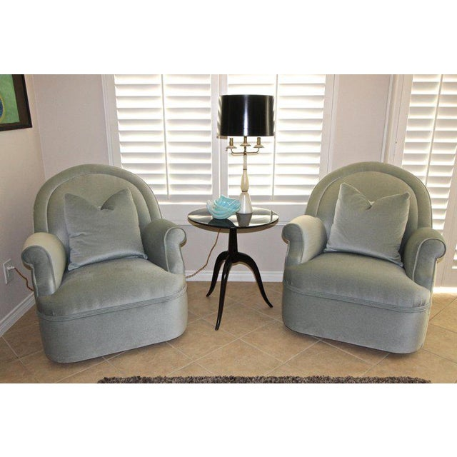 Pair of Custom Mohair Seafoam Green Lounge Club Chairs For Sale - Image 12 of 13