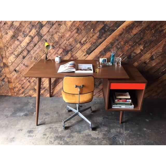 Mid-Century Style Custom Walnut Desk For Sale In New York - Image 6 of 10
