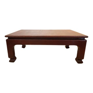 Ming Raffia Covered Coffee Table For Sale