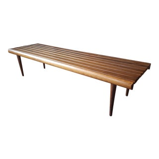 Mid Century Modern Slat Bench or Coffee Table For Sale