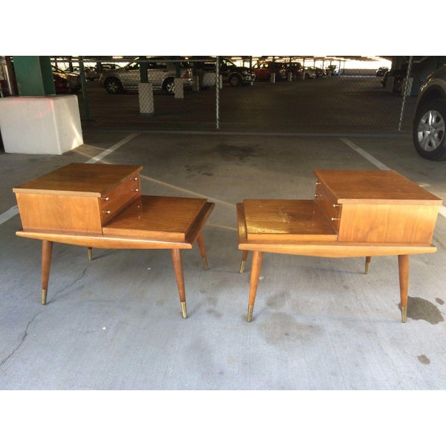 Brown Mid-Century Step Side Tables - A Pair For Sale - Image 8 of 10