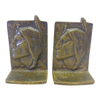 1930s Solid Bronze Native American Indian Chief Sitting Bull Bookends - a Pair For Sale