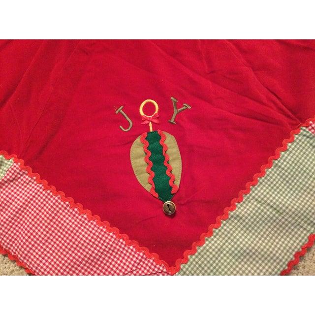 Farmhouse Vintage Red Velvet Tree Skirt For Sale - Image 3 of 11