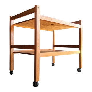 Minimalist Teak Danish Midcentury Modern Bar Cart For Sale