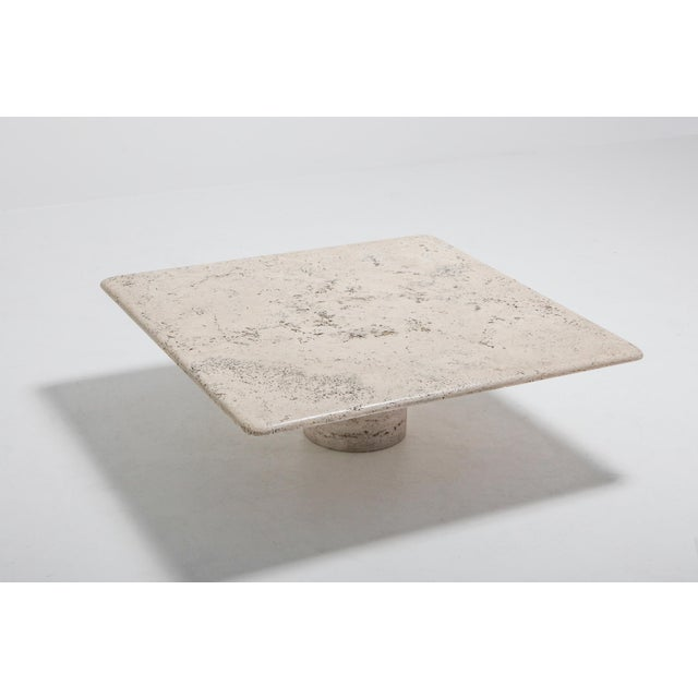 Angelo Mangiarotti Mangiarotti Square Travertine Coffee Table for Up & Up For Sale - Image 4 of 9