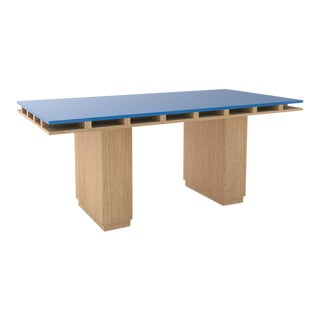 Contemporary 103 Dining Table in Oak and Blue by Orphan Work, 2020 For Sale