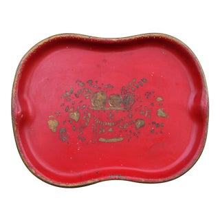 Hand Painted Red & Gilt Tole Tray For Sale