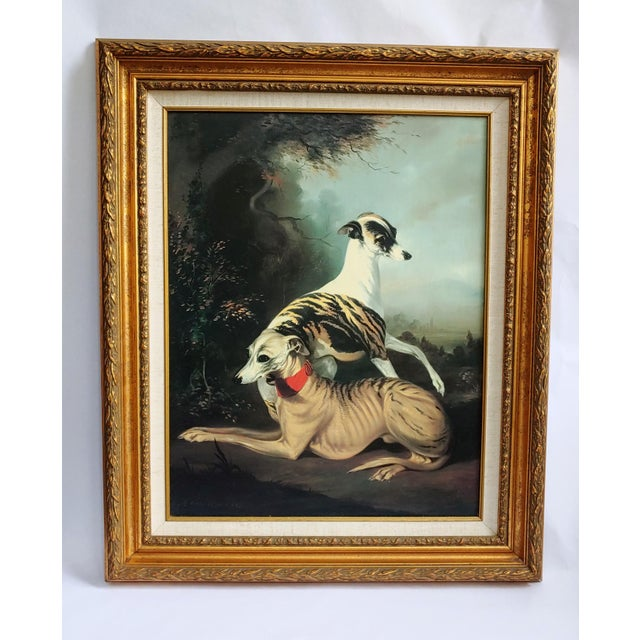 Painted in the style of Thomas Gainsborough, this charming painting depicts a pair of elegant greyhounds in the foreground...