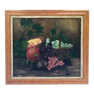 Antique Early American Oil Painting Still Life of Fruit in a Basket C.1850 For Sale