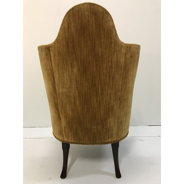 Early 20th Century Queen Anne Tall Barrel Back Wingback Parlor Fire Side Chair Mahogany Cabriole Leg For Sale - Image 6 of 13