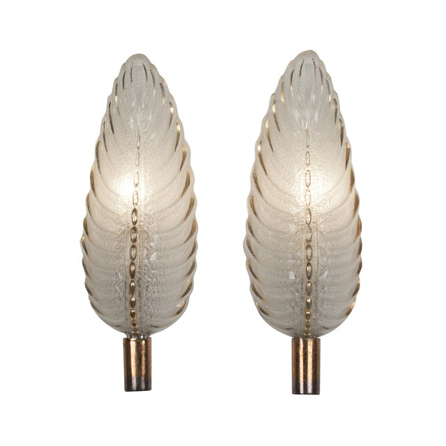 French Ezan Leaf Sconces- A Pair - Image 1 of 8
