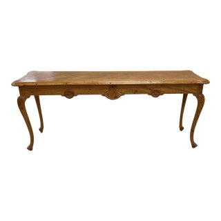 Parquet Top Carved Wood French Style Console Table, Made in Italy For Sale