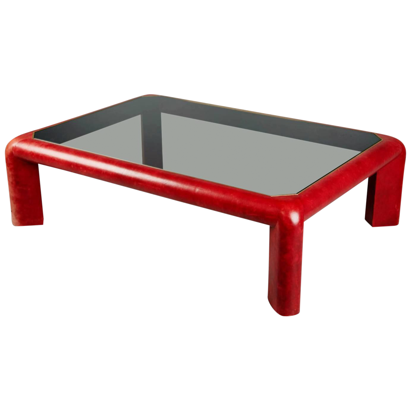 1984 Karl Springer Signed Lipstick Red Leather And Brass Cocktail Table For  Sale