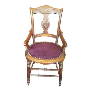 20th Century Traditional Wooden Chair With Maroon Suede Cushion For Sale