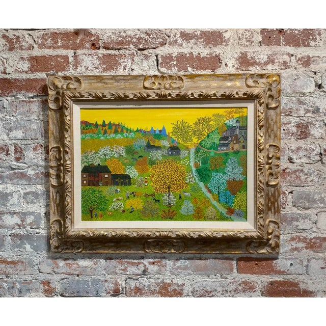 1958 Russian Farmland Landscape Oil Painting by Helena Adamanoff For Sale - Image 10 of 10
