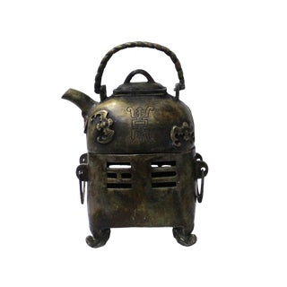 Chinese Handmade Metal Bronze Color Old Fashion Teapot Shape Display For Sale