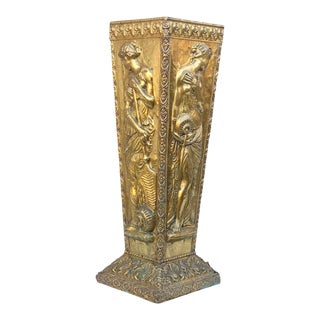 Antique French Rococo Repousse Brass Entryway Umbrella Holder Stand For Sale