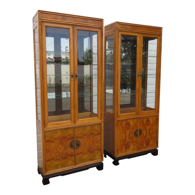 American of Martinsille Hollywood Regency Pair of China Display Cabinets 2398 For Sale
