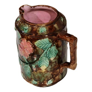 19th Century French Barbotine Water Pitcher With Flowers, Leaves and Nuts
