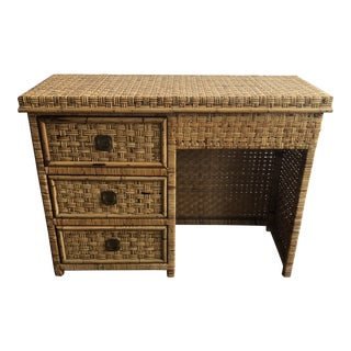 1950s Hollywood Regency Rattan Wrapped Partner Desk