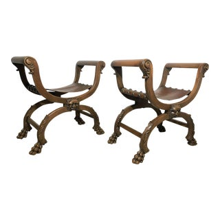 19th Century Period Gustavian Benches Carved Rams Head and Hoof - A Pair