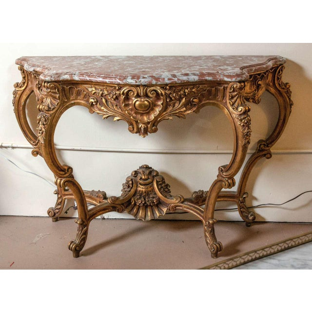 Superb Marble Top Louis XV Style Console Table by Jansen | DECASO